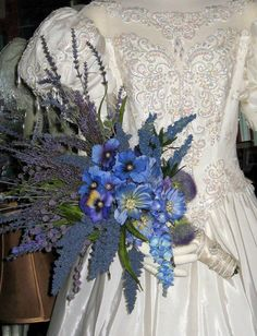 French Lavender Blue Cosmos and Pearls Bouquet by whiteriver51, $299.00
