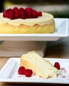 Yogurt Cheesecake with Orange Shortbread Crust and Chambord Honey Drizzle.