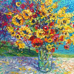By Iris Scott   Oil on canvas   Finger painting   Originals and prints   www.IrisScottFineArt.com   A bouquet bursting with golden and crimson color decorates an outside table in a clear glass vase.