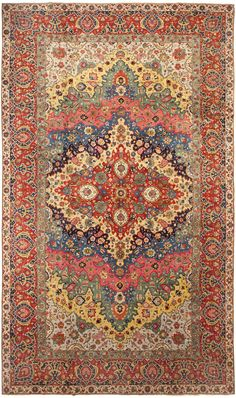 Antique Persian Tabriz Rug-It's hard to go wrong when you pull your color scheme from a gorgeous carpet! #color #scheme #colorscheme