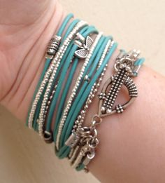 Boho Chic Endless Light Turquoise Leather  Wrap Bracelet with Silver Accents and Metallic Silver Miyuki Beads