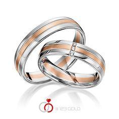 1 Paar Trauringe - Legierung: Weißgold 585/- Rotgold 585/- Breite: 4,50 - Höhe: 1,30 - Steinbesatz: 3 Brillanten zus. 0,03 ct. tw, si (Ring 1 mit Steinbesatz, Ring 2 ohne Steinbesatz)