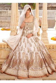 Cream Chanderi Silk Anarkali