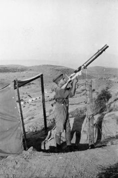 SERVICE CAPTAIN RICHARD WHITE MC WITH 12TH BATTALION LANCASHIRE FUSILIERS MACEDONIA... (HU 82037)   Private Plant of 'A' Company, 12th Battalion, Lancashire Fusiliers, manning a Lewis Gun in an anti-aircraft post at Bowls Barrow Camp.