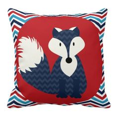 Navy Blue Fox on Red Throw Pillow