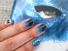 Nail art inspired by Daughter of Smoke & Bone by Laini Taylor: http://www.nitelitebookreviews.com/2013/12/manicure-monday-41-daughter-of-smoke.html