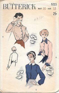 Butterick 5223 New FF 1950s Teen Age Boyish Blouse Vintage