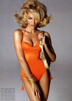 The hair and vintage swimwear  Burst in Style: Candice Swanepoel Retro Provocation For Vogue Italia