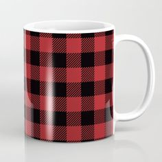 Buffalo Check Plaid in Red and Black Coffee Mug by ElliottDesignFactory - 11 oz Black Coffee Mug, Coffee Mugs, Buffalo Check Christmas Decor, Christmas Decorations, Plaid, Tableware, Red, Gingham, Dinnerware