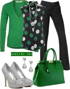 Green and grey work oufit