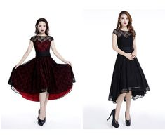 Red Black Lace Party Gothic Rockabilly 50s Dress Reg& Plus Sizes