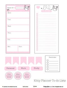 Free Printable Whimsical Kitty Planner To Do Lists from Vintage Glam Studio