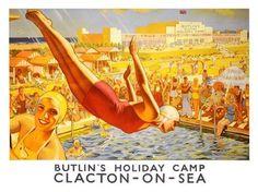 Vintage LNER Dovercourt Bay Butlins Railway Poster A3//A2//A1 Print