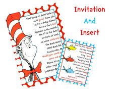 dr. seuss baby shower invitations | Dr. Seuss Cat in the Hat Baby Shower Printable INVITATION and INSERT ...