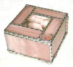 "Champagne Pink Jewelry Box - Stained Glass Box - 3 1/2"" x 3 1/2"" - To see this and more, visit us at www.AccentOnGlass.com"