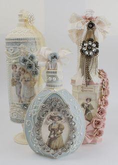 I enjoyed using the soft Days of Winter collection to make these projects. All started out as being just plain glass containers, but after painting them ivory and then decoupaging these gorgeous papers onto them, they were transformed into the projects you see above. In order, they are an olive…