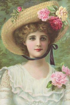 Victorian Woman Wearing Flowers on Hat & Dress