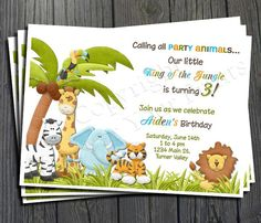 Jungle theme birthday invitations gallery invitation templates african animal magnet teacher pinterest african animals jungle birthday invitation free thank you card included filmwisefo stopboris Choice Image