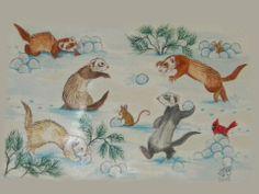 Art Illustrations, Illustration Art, Ferrets, Nature Paintings, Mammals, Original Artwork, Wildlife, Watercolor, Website