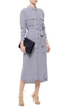 Crafted in one of the label's signature soft, effortless silhouettes, this **Equipment** Delaney dress features a button up front with contrasting buttons and a midi-length hem.