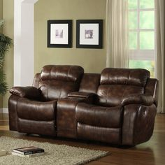 Have to have it. Darrin Reclining Loveseat with Console - Brown - $811.98 @hayneedle