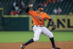 CrowdCam Hot Shot: Houston Astros shortstop Jonathan Villar throws to first base during the first inning against the Los Angeles Angels at Minute Maid Park. Photo by Troy Taormina