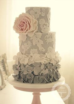 Ombre ruffle tiered cake - gorgeous!