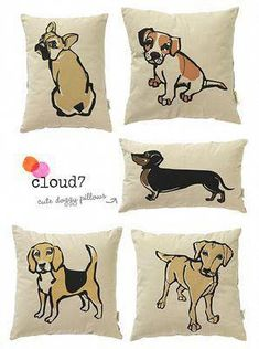 Dog Pillow Art from Dog Cushions, Dog Pillows, House Breaking Dogs, Super Cute Dogs, Dog Collar Bandana, Cute Pillows, Fabric Painting, Dog Art, Dog Gifts