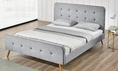 Groupon Goods Global GmbH: Winchester Charcoal or Light Grey Fabric Bed Frame With Optional Deep Spring Mattress With Free Delivery Grey Bed Frame, King Bed Frame, Office Furniture Uk, Mattress Springs, Scandi Style, Grey Bedding, Double Beds, King Beds, Grey Fabric