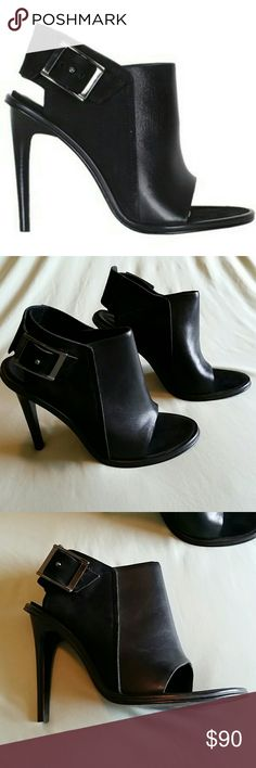 """TIBI Milou Leather/Nubuck Peep Toe Booties size 36 Overall good condition, some marks present on leather. On one boot the materials have slightly come apart as shown in last photo. Stacked black wooden heel measuring 4.25"""". Adjustable buckle. Size 36 is equivalent to US 6. Tibi Shoes Heels"""