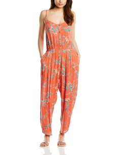 Billabong Women Steal The Night Dungarees, Orange (Hot Coral), Size 12 (Manufacturer Size:Medium)