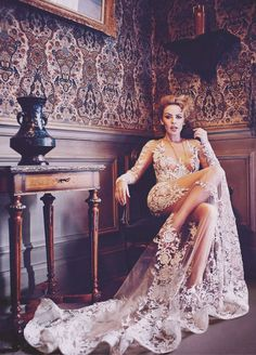 Fashion Editorial | Kylie Minogue: Vogue - dustjacket attic dress by Zuhair Murad jaglady