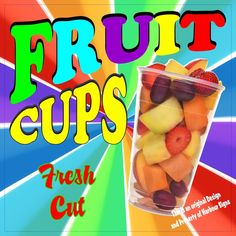 "Fruit Cups Decal 14"" Concession Market Food Truck Fair Vinyl Menu Sticker…"