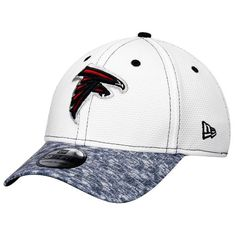 8ddd84c9eb3 Men s Atlanta Falcons New Era White Heathered Gray Tech Stir 39THIRTY Flex  Hat