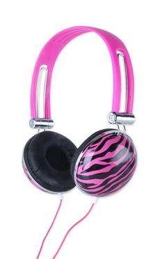 pink and black zebra headphones