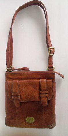 FOSSIL Long Live Vintage 1954 Brown Leather Crossbody Shoulder Bag Free USA Ship