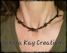 Barbwire Leather Necklace Custom Made by SonoraKayCreations, $19.99