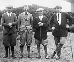 Photograph of men wearing their golf clothing of the  1920s with their knickers and golf hose.
