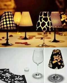 Wine glass tea light lantern shades - use this idea with wild animal prints for the perfect lighting in your safari-themed room!