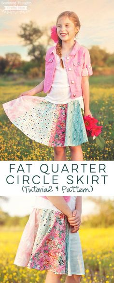 Sew a circle skirt with fat quarters using this free pattern (sizes 3 to 10) and tutorial. #circleskirt #fatquarters #freesewingpattern #sewing #skirtpattern