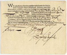 A bond issued by the Dutch East India Company, dating from 7 November 1623, for the amount of 2,400 florins.