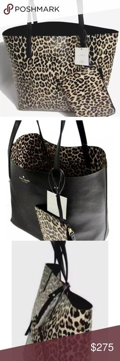 2c7414516c76 Kate spade mya arch place reversible tote nwt Brand new leopard print tote  with matching wristlet. Tote is reversible to solid black color.