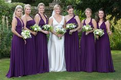 Aubergine ballgowns | twobirds Bridesmaid Dresses | A beautiful wedding featuring our multiway, convertible dresses