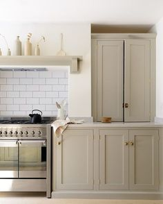 Brass hardware.  Mushroom paint.  SImple. traditional but also modern, clean lines, too simple?