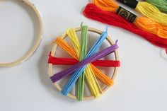 Wrapping Rainbow Thread Around a Hoop-this is a very Waldorf-esque toy. I like the sensory aspect of the wood embroidery hoop and colorful string.