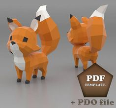 Make your own Cartoon Fox paper sculpture for home decor, Fox papercraft, Low Poly Fox, Paper Fox, A Modelos Low Poly, Modelos 3d, 3d Templates, Animal Templates, Paper Craft Templates, Origami 3d, Paper Crafts Origami, Origami Design, Oragami