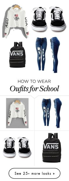 """school"" by jchamseddin on Polyvore featuring Vans"