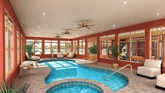 Indoor Swimming Pool Ideas - You want to build a Indoor swimming pool? Here are some Indoor Swimming Pool designs and ideas for you. Pool House Plans, House Plans And More, Dream House Plans, Dream Houses, Swimming Pool House, Indoor Swimming Pools, Swimming Pool Designs, Indoor Pools In Houses, Lap Swimming