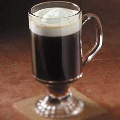 Irish Coffee Recipe -Creme de menthe adds a colorful touch to the cream. But made without, the coffee still lives up to its reputation as a relaxing after-dinner drink. —Taste of Home Test Kitchen I Love Coffee, Hot Coffee, Coffee Drinks, Irish Coffee, Irish Whiskey, Italian Coffee, Irish Drinks, Coffee Cream, Drink