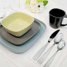 Karo Dinnerware Set by Gourmet Settings is contemporary stoneware dinnerware sets that are elegant, modern and practical. Karo dishware is ideal for day-to-day use, as well as entertaining and fine dining. This dinnerware set will be a lasting addition to your household.